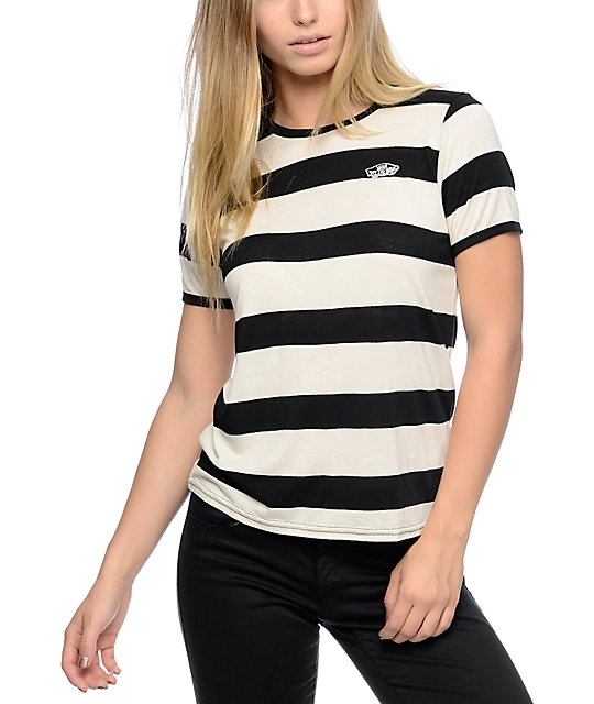 858ef55b5d8db7 Vans Off The Wall Patch Black And White Rugby Stripe T-Shirt