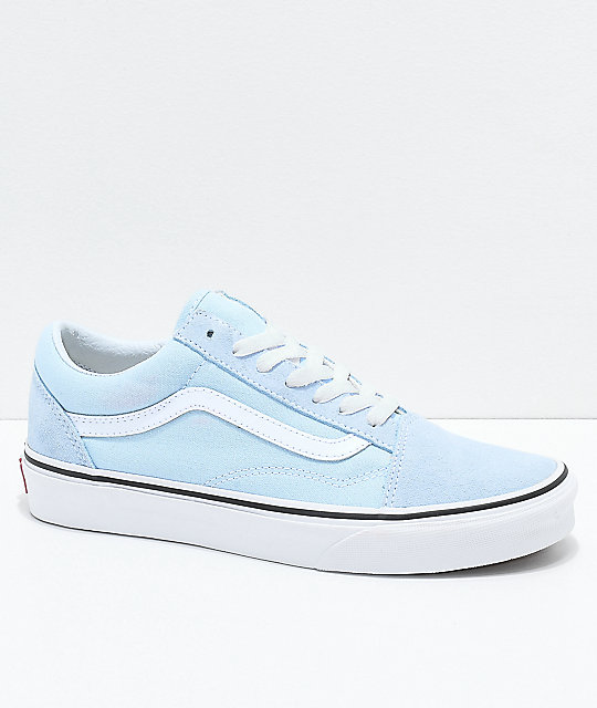 Vans Old Skool Baby Blue & True White Shoes | Womens shoes