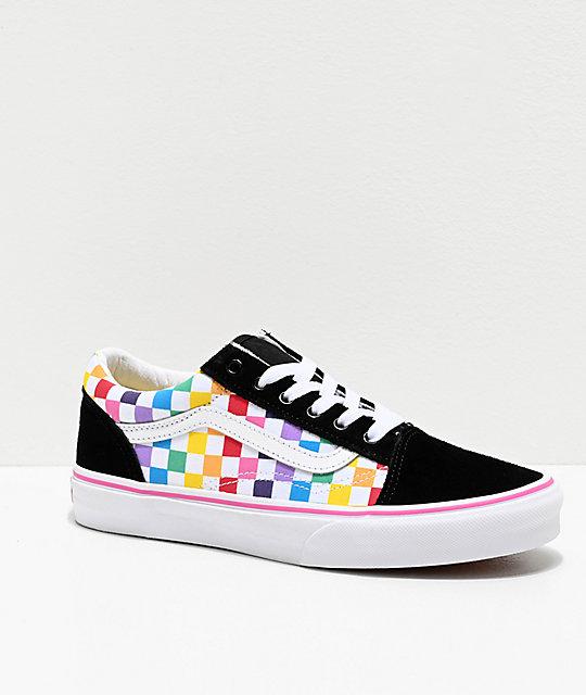 Vans Old Skool Black, Pink & Rainbow Checkerboard Skate Shoes by Vans