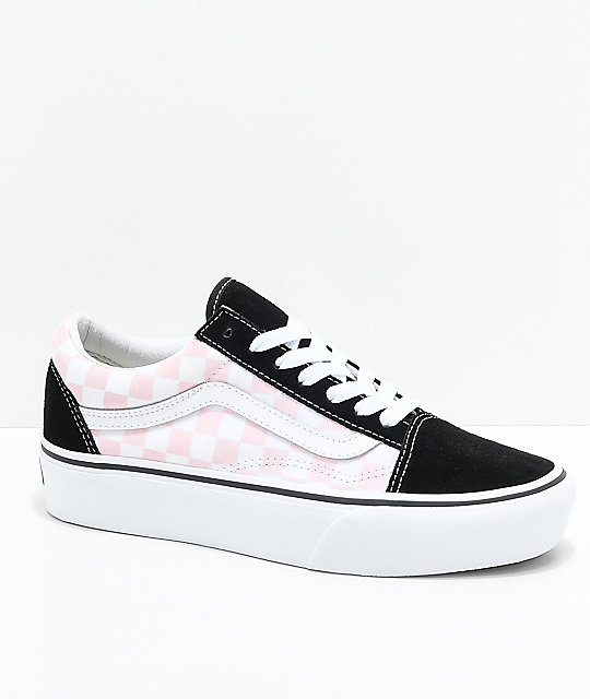 Vans Old Skool Black, Pink & White Checkered Platform Skate Shoes