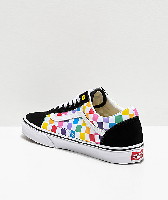rainbow checkerboard vans with laces