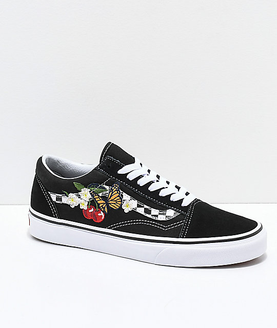 1ee713664c76 Vans Old Skool Black   White Checkered Floral Skate Shoes
