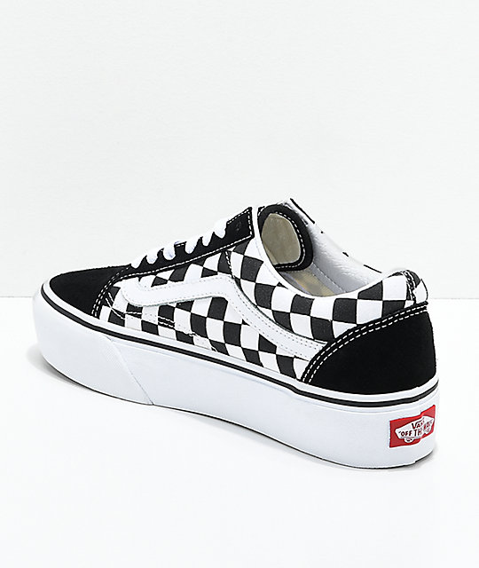 9f230f0fc02d ... Vans Old Skool Black   White Checkered Platform Shoes ...