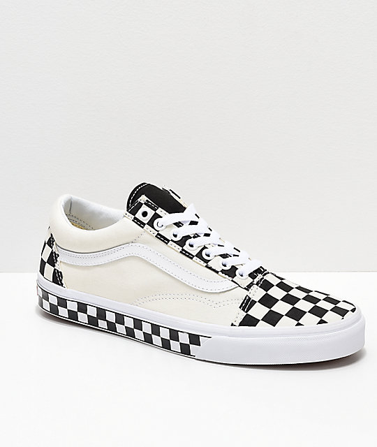 Vans Old Skool Black White Checkered Sides Skate Shoes Zumiez