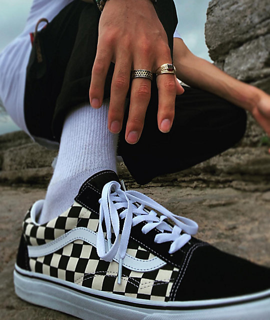 ... Vans Old Skool Black   White Checkered Skate Shoes ... d7e1bd034c5