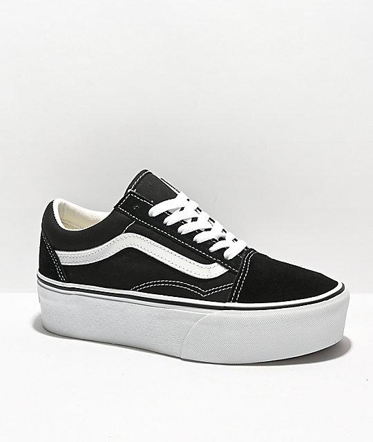 744dca33ec Vans Old Skool Black & White Platform Shoes