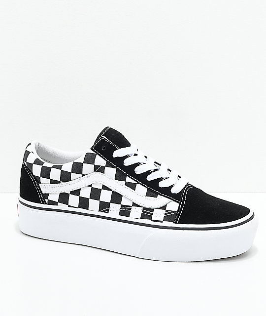 Vans Old Skool Black & White Checkered Platform Shoes | Zumiez