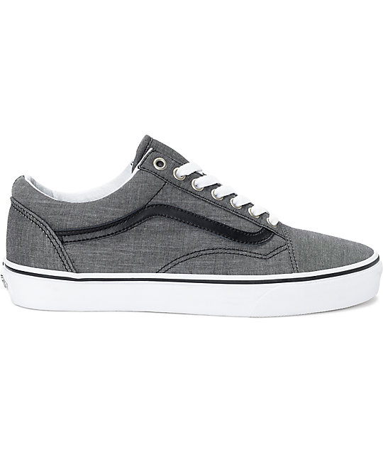 Vans Old Skool Black Chambray Skate Shoes