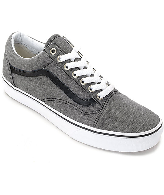 8cf4e572a27be6 Vans Old Skool Black Chambray Skate Shoes