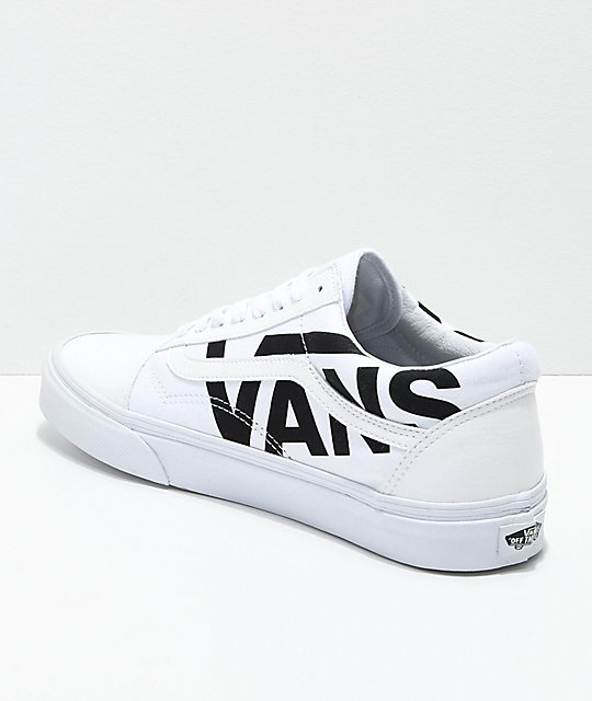 ... Vans Old Skool Black Logo White Skate Shoes ... d27da01e3