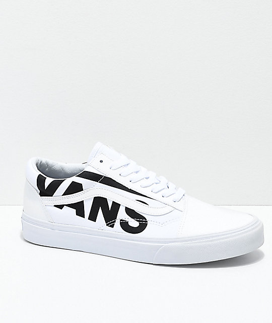 Vans Old Skool Black Logo White Skate Shoes ... 9c3b5bb152bf