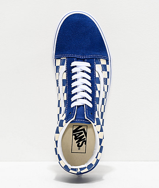 b732bd0333d ... Vans Old Skool Blue   White Checkered Skate Shoes ...