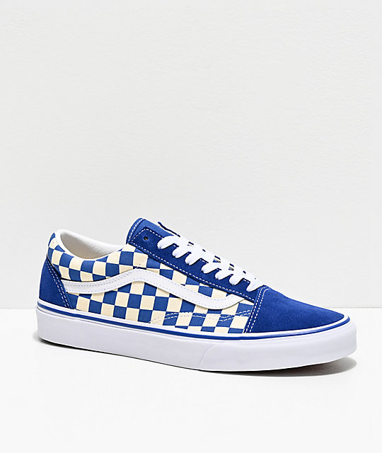 5bb3e462273 Vans Old Skool Blue   White Checkered Skate Shoes
