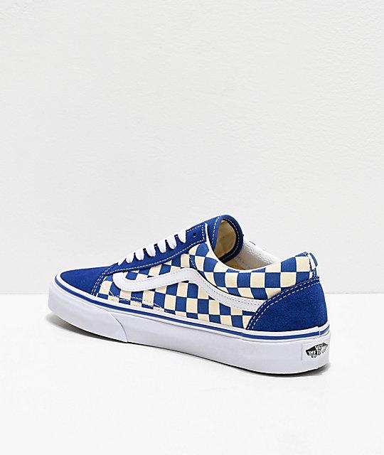 vans old skool checkerboard sneakers in blue