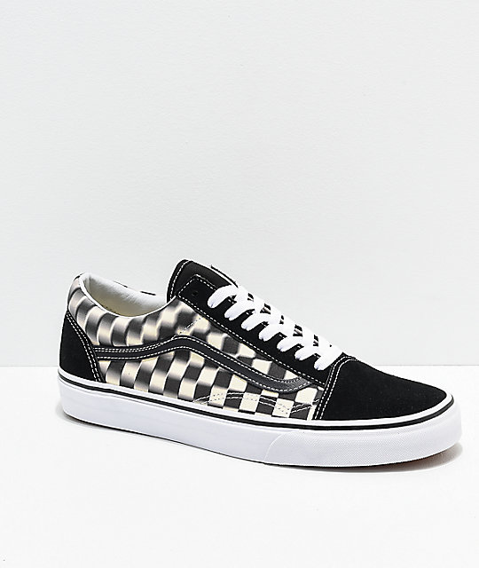 Vans Old Skool Blur Black & White Checkerboard Skate Shoes