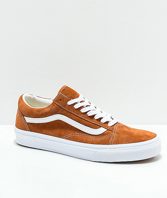 a009de1469 Vans Old Skool Brown Pig Suede Skate Shoes