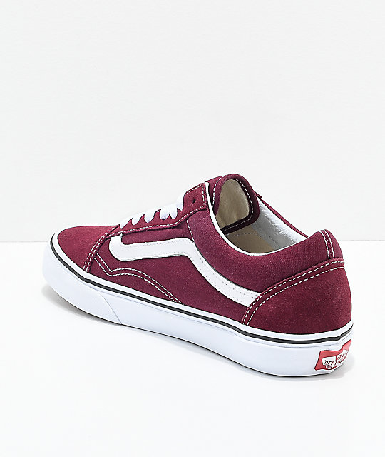 Vans Old Skool Burgundy & White Skate Shoes