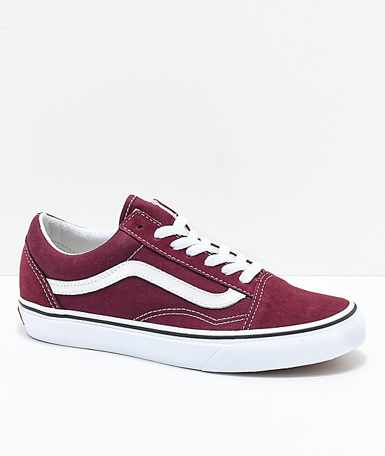 b15dba3bc6 Vans Old Skool Burgundy   White Skate Shoes