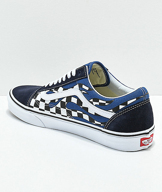 ... Vans Old Skool Checkerboard Flame Navy   White Skate Shoes ... 7e947c80a