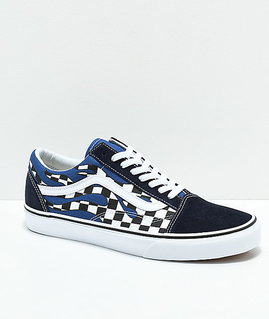 016dcd77cb2 Vans Old Skool Checkerboard Flame Navy   White Skate Shoes ...