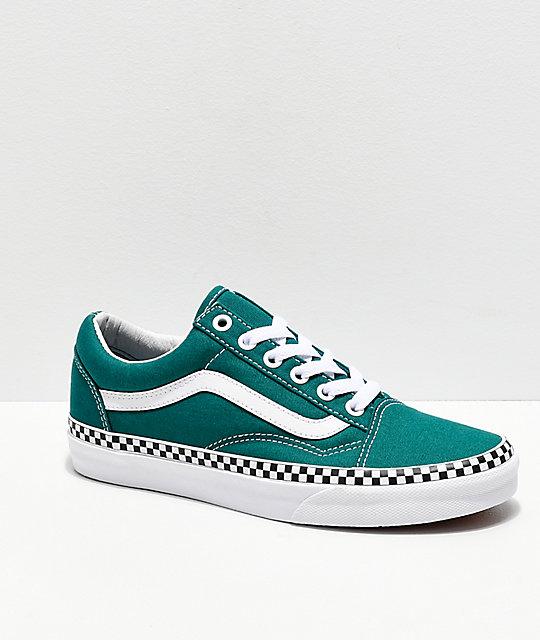 tolle Auswahl heiß-verkauf freiheit neue Fotos Vans Old Skool Checkerboard Foxing Quetzal Green Skate Shoes