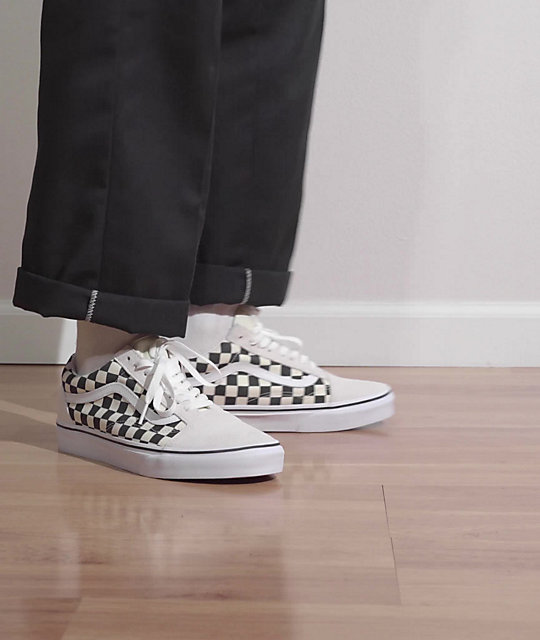 Vans Old Skool Checkerboard White Skate Shoes | Zumiez