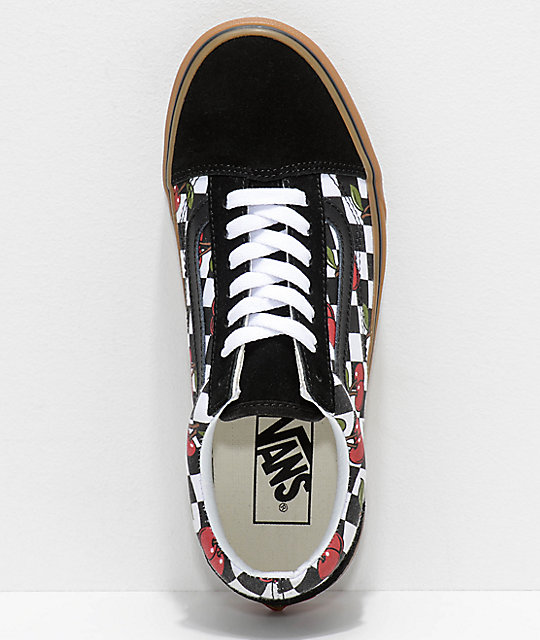 Vans Old Skool Cherry Black & Gum Checkered Skate Shoes