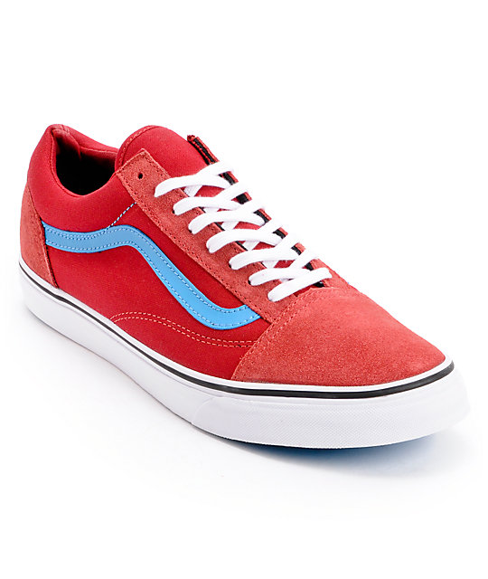vans old skool red and blue
