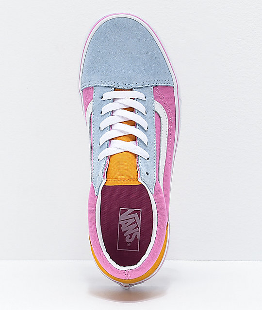 Vans Old Skool Colorblock Pink, Orange & Light Blue Skate Shoes