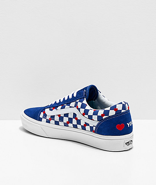 Vans Old Skool ComfyCush Autism Heart & Checkerboard Skate Shoes