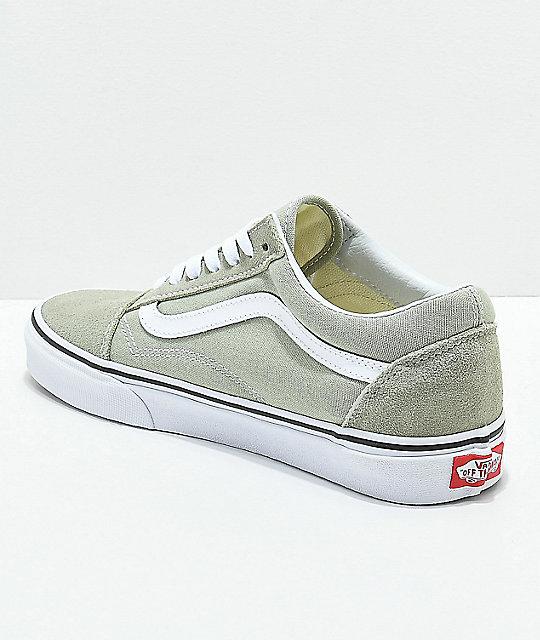 3f162e7356 ... Vans Old Skool Desert Sage   True White Skate Shoes ...