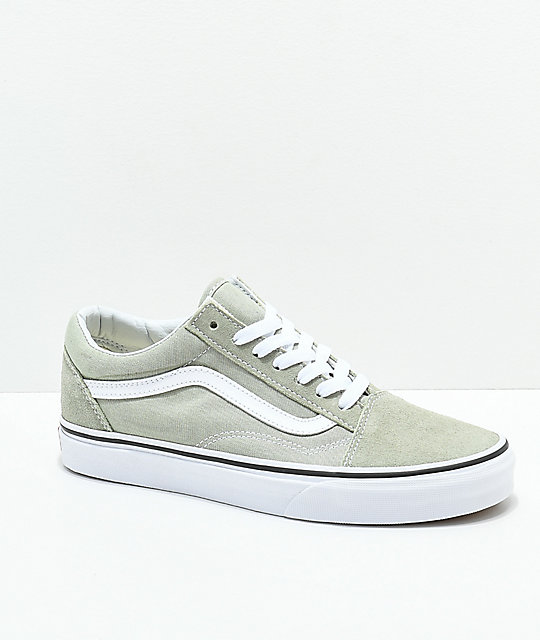 2113395836 Vans Old Skool Desert Sage   True White Skate Shoes