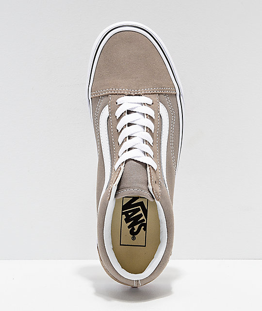 ... Vans Old Skool Desert Taupe   White Skate Shoes ... 20bb5f411