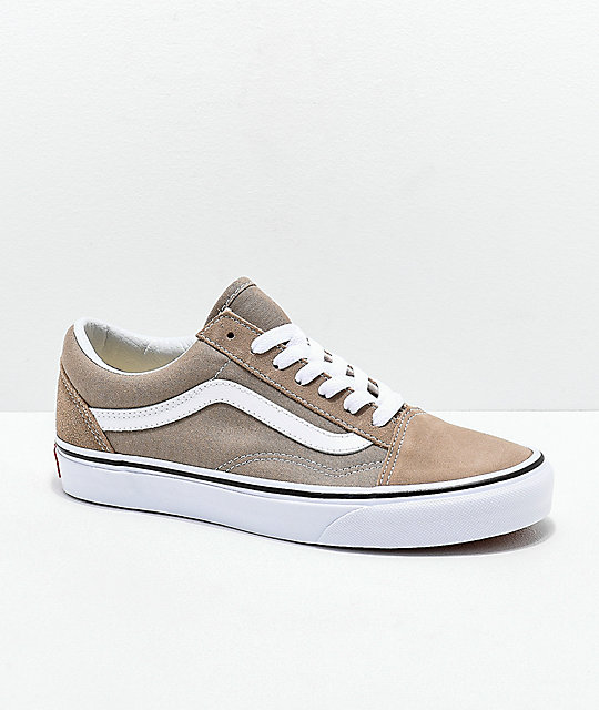 238fafd739e Vans Old Skool Desert Taupe   White Skate Shoes