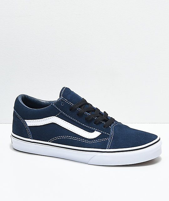 56ddb00d17b24b Vans Old Skool Dress Blue Suede Skate Shoes
