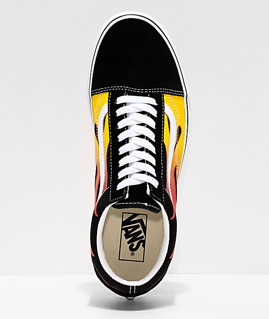 Vans Old Skool Flame Black & White Skate Shoes
