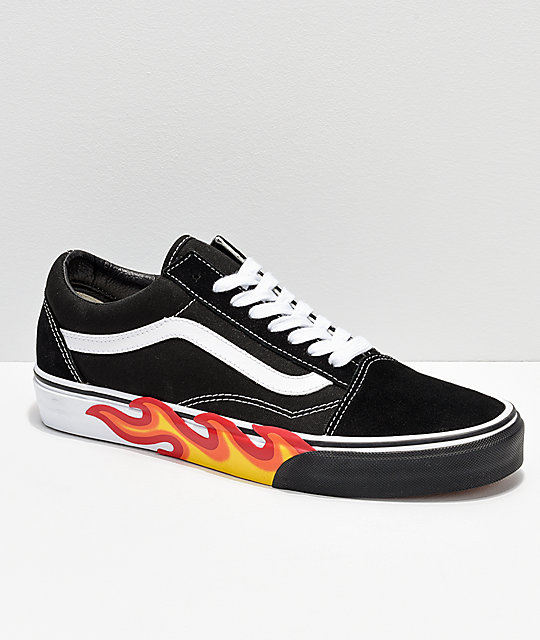 Vans Old Skool Flame Black & White Bumper Skate Shoes