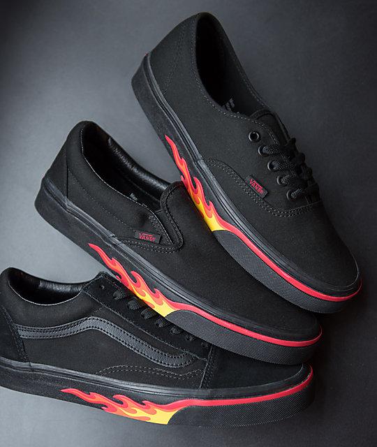... Vans Old Skool Flame Wall Black   Black Shoes 5693aa8d8