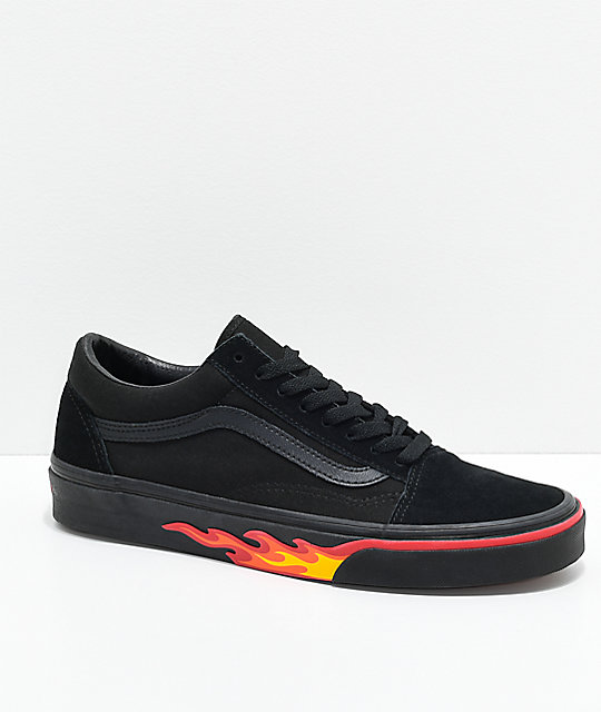 45d323a0fd Vans Old Skool Flame Wall Black   Black Shoes