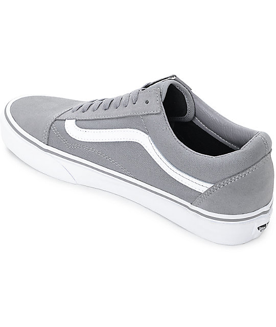 9962f5e12f86fa ... Vans Old Skool Frost Grey   True White Skate Shoes ...
