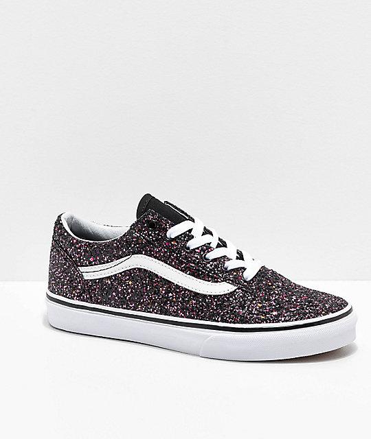 bb3368c8dfc831 Vans Old Skool Glitter Star Black Skate Shoes