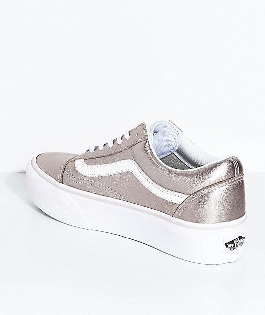 01232400e1c ... Vans Old Skool Gray Gold   True White Platform Skate Shoes ...