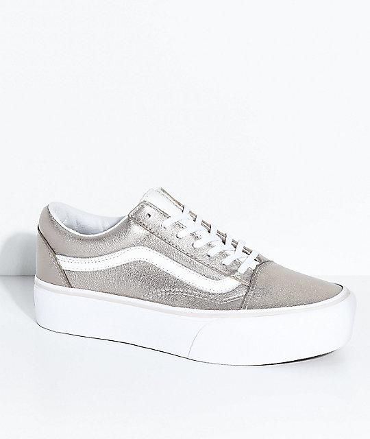 a1b590ed53 Vans Old Skool Gray Gold   True White Platform Skate Shoes
