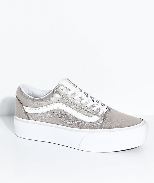 on feet at exclusive shoes size 7 Vans Old Skool Gray Gold & True White Platform Skate Shoes