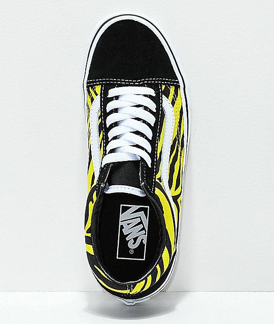 7e94d05c55 ... Vans Old Skool Green   Black Zebra Print Skate Shoes ...