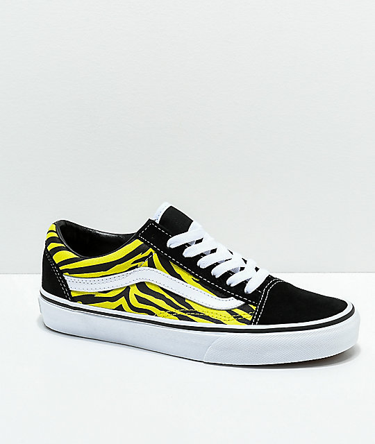 e5a340a74621 Vans Old Skool Green   Black Zebra Print Skate Shoes