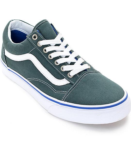 Vans Old Skool Green   White Shoes  bf6e91146d77