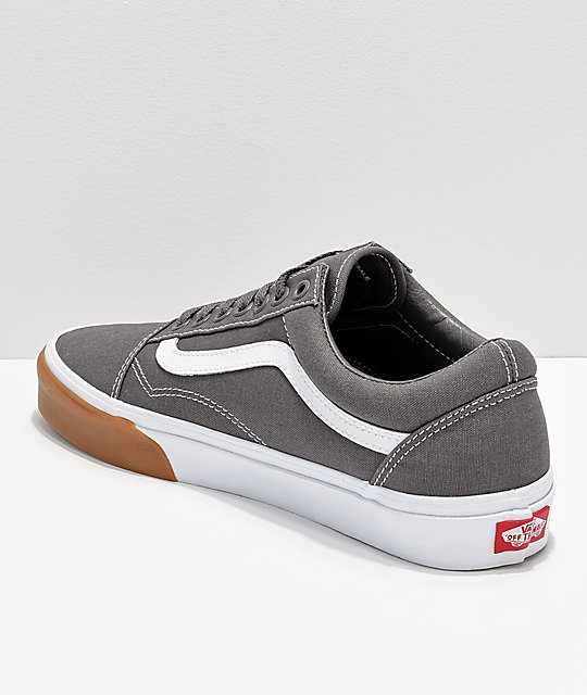 Vans Old Skool Grey, White & Gum Bumper Skate Shoes