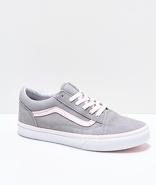 d9dd4df0a40 Vans Old Skool Grey   Light Pink Skate Shoes