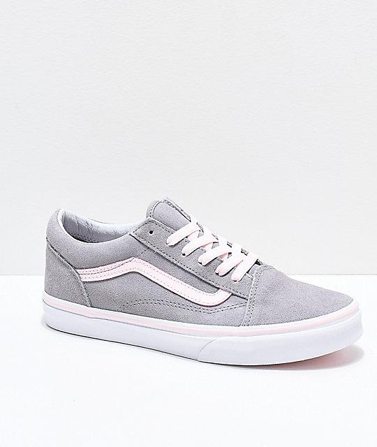 f996041f Vans Old Skool Grey & Light Pink Skate Shoes
